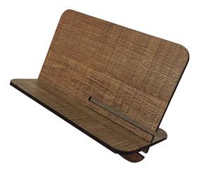 Suporte Universal Tablet iPad Cor Rustico Mdf Escritório