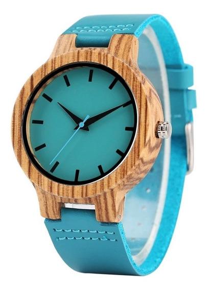 Relógio Feminino Artesanal De Madeira De Bambu Azul Royal