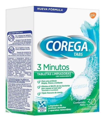 Enjuague Limpiador  De Dientes Corega Tabletas 30.
