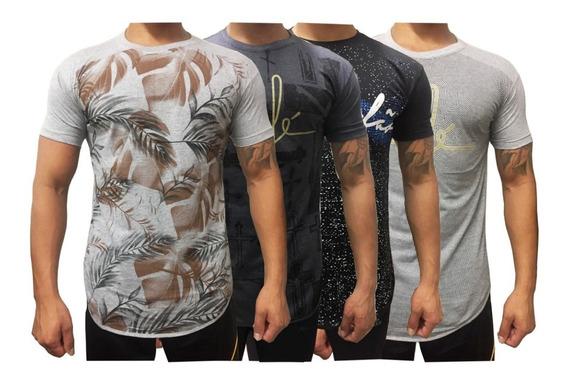 Revenda 10 Camisa Masculina Longline Estampadas Algodão