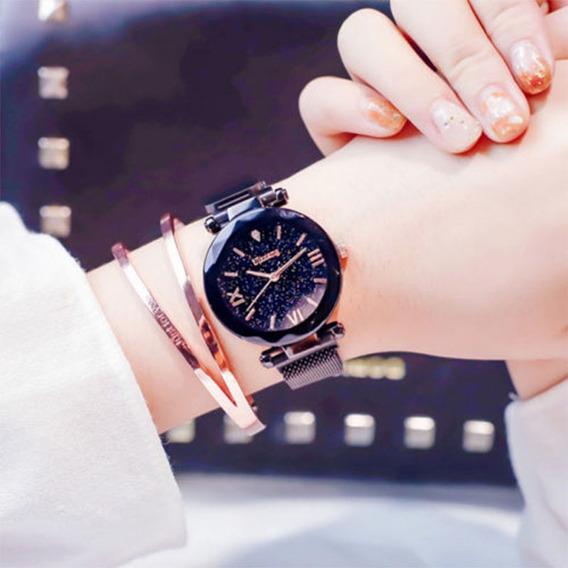 Luxo Estrelado Céu Quartzo Relógio Magnet Strap Fivela Rel