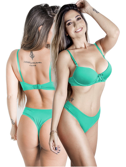 Conjunto Calcinha E Sutiã Cores Lisas Verde Claro