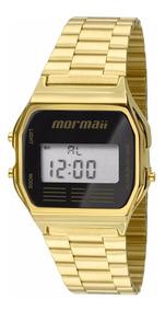 Relógio Mormaii Dourado/preto Vintage Digital Mojh02ab/4p