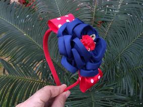 Tiara Com Flor Azul Marinho 1 Unidade Proxixo Arts
