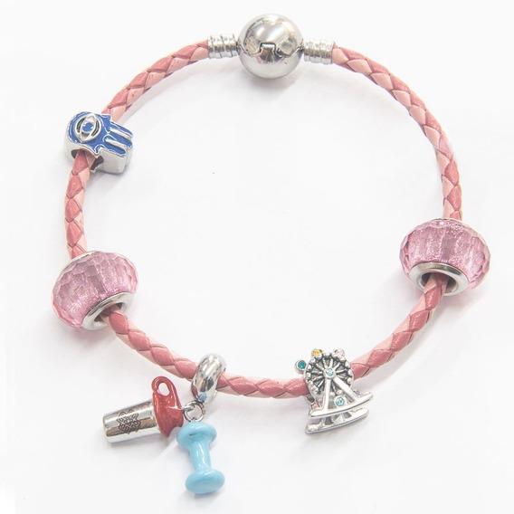 Pulseira Aço Inox Trançada - 5 Berloques - Rosa