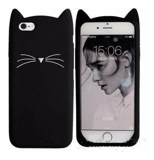 Funda Silicona iPhone 6 Plus Cat Gato Negra