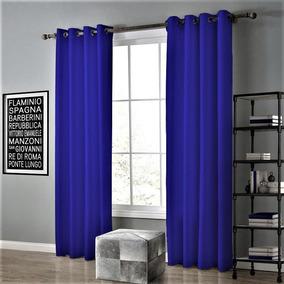 Cortina De Oxford Para Sala E Quarto 3,00 X 2,30 Azul Royal