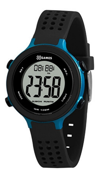 Relógio Masculin Azul Xgames Digital Pulseira Silicone Preto