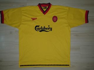 Rara Camisa Do Liverpool 1996 Reebok Amarela Carlsberg