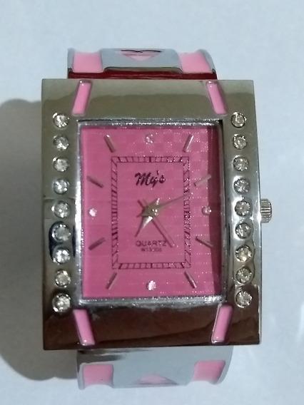 Relógio Quadrado Pulso Feminino Rosa Strass Quartzo Promoção