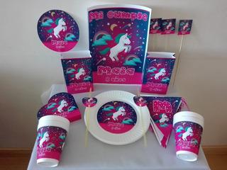 Pack Cotillon Personalizado 30 Unicornios+souvenirs