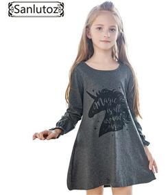 Vestido Infantil Unicórnio Importado Manga Longa