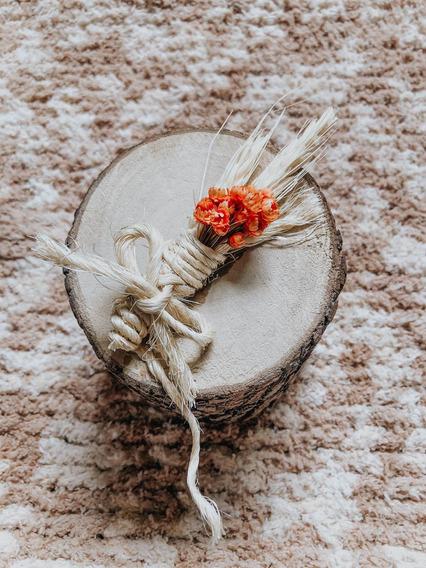 Porta Joias E Alianças Rústico De Madeira Com Flores