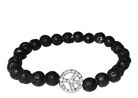 Pulseira Bracelete Feminina Pedra Vulcanica Simbolo Da Paz