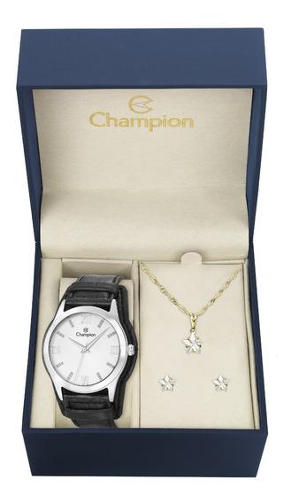 Relógio Champion Feminino Pulseira Couro Cn20346c Kit