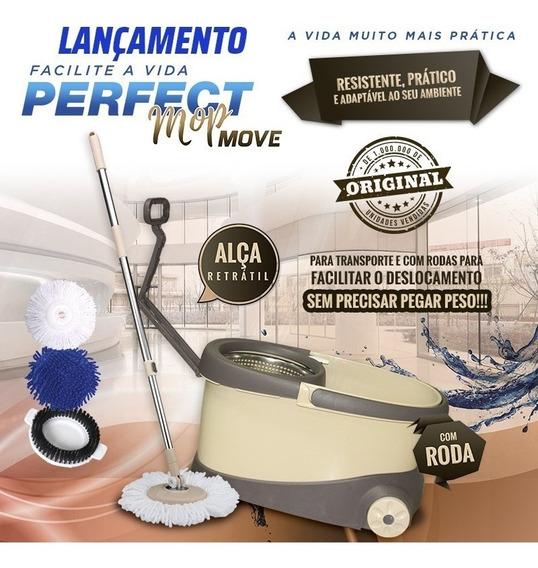 Balde Mop Esfregao Com Rodas Perfect Move 3 Refis Cesto Inox Cabo 1,60m Balde Mop Original + 2 Refil Microfibra Gratis