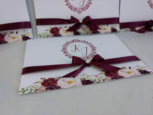 Imagem 1 de 3 de Convite Casamento Marsala Floral  -10  Unidades