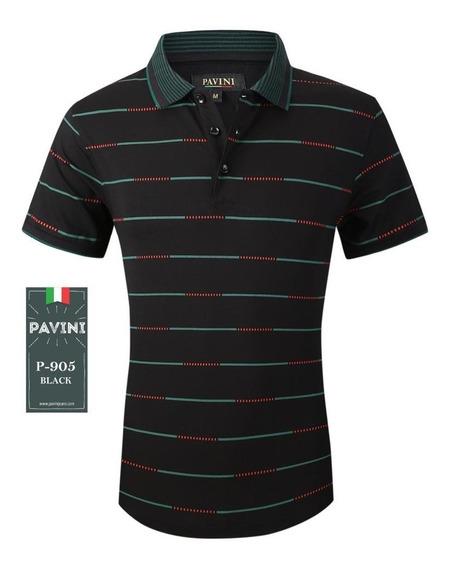 Playera Hombre Polo Pavini Original 905 Negro ( 1 )