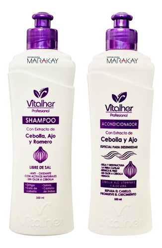 Imagen 1 de 1 de Shampoo Y Acondicionador De Cebolla Ajo Romero Vitalher 350
