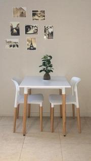 Juego De Mesa Eames 70x70 Con 2 Sillas Milan / Nordico