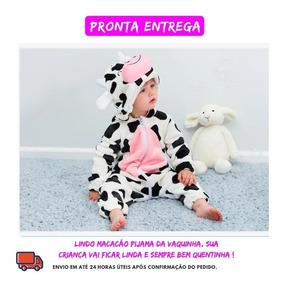 Macacão Pijama Bebê Bichinho Fantasia Vaquinha Infantil