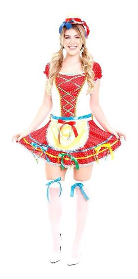 Saia Festa Junina Adulto, Roupa Caipira , Vestido Com Meia