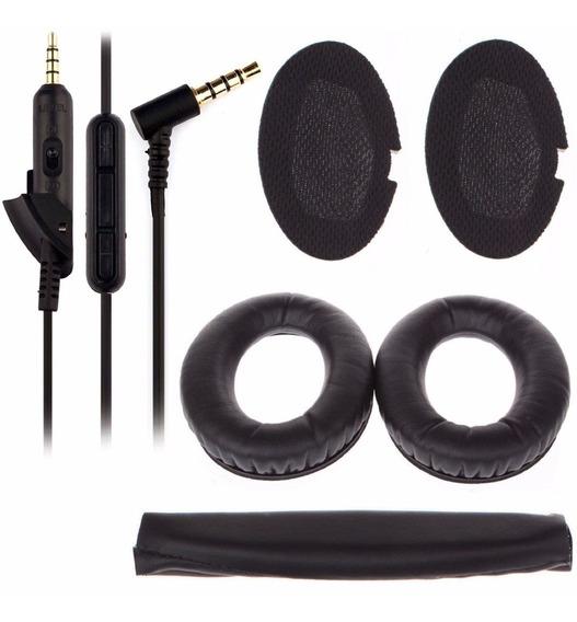 Kit Para Fone Bose Qc15 Espumas + Cabo + Espuma De Cabeça