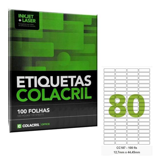 Etiqueta Adesiva Carta Cc187 12,7x44,45 Colacril 100 Fls