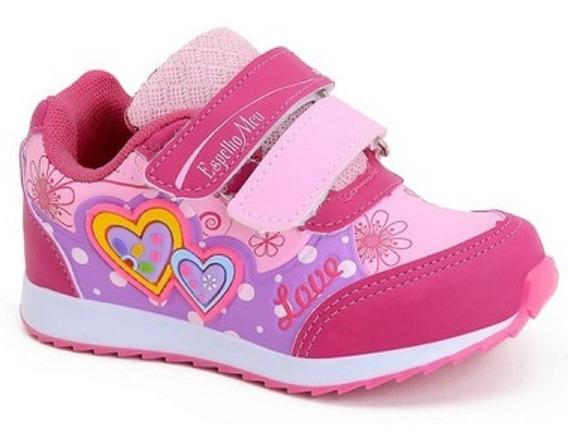 Tênis Infantil Feminino Kids Velcro Coração Botinho 796ea
