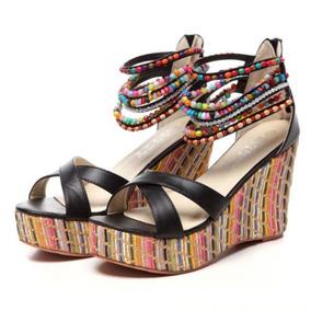 Zapatos De Mujer Cuña Sandalias De Rhinestone Perlas