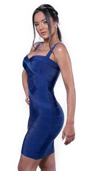 Vestidos Femininos Bandagem Acetinada Azul