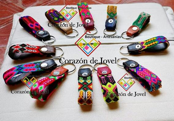 12 Llaveros De Piel/cuero Bordados Artesanales De Chiapas
