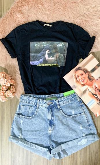 Blusa T-shirt Fem Algodao Bordado Estampas Variadas