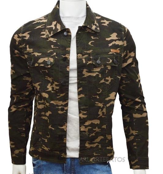 Jaqueta Jeans Masculina Premium Fit Preta, Marrom Camuflada