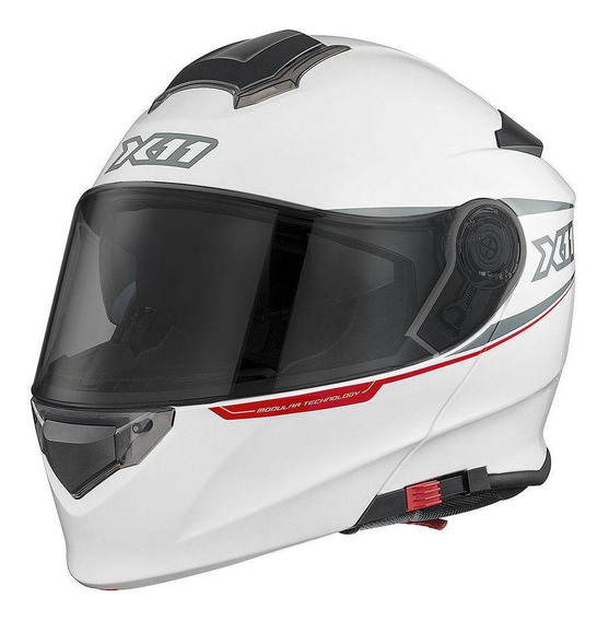 Capacete para moto escamoteável X11 Turner branco L