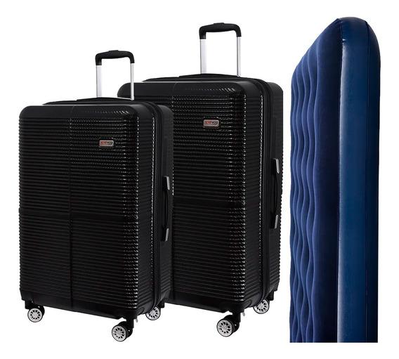 Conjunto De Malas Para Viagem Exeway Com Rodízios 360° 2 Peças, Preta + Colchão Inflável Sunfit Casal, Azul