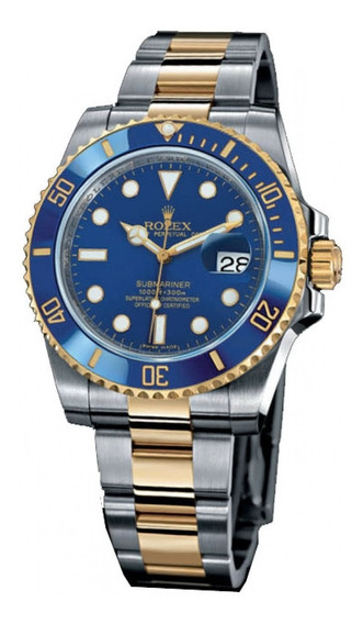 Relogio Masculino Submariner Blue Gold