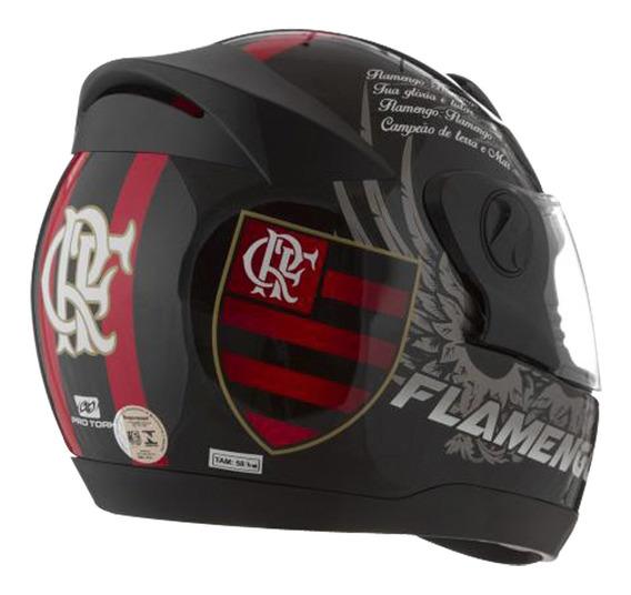 Capacete Evolution Flamengo 60 Preto / Vermelho Pro Tork.