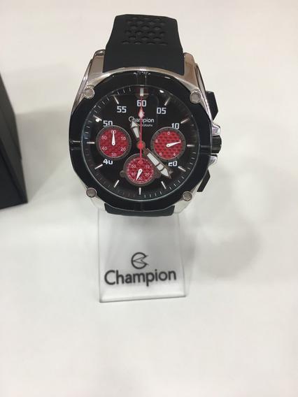 Relógio De Pulso Champion Ca30721 Borracha Preto Masculino