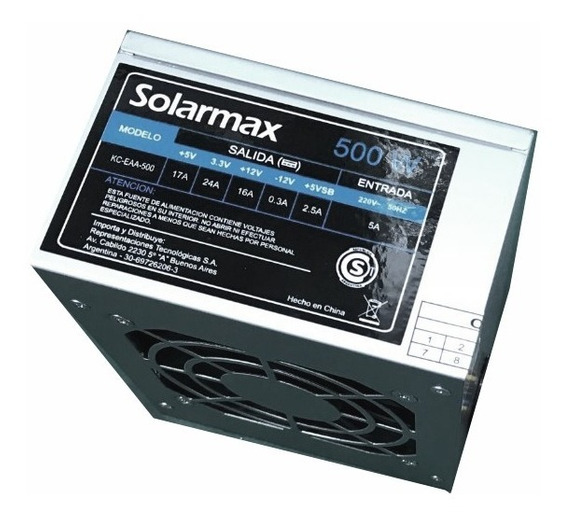 Fuente Slim Mini Solarmax Kc-eaa-500 Con Cable Power