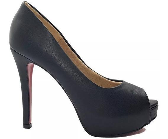 Sapato Feminino Salto Alto Preto Peep Toe Dom Amazona Cód 32