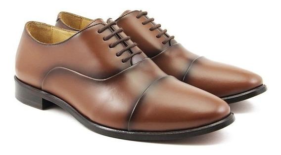 Sapato Oxford Feminino Couro Bico Redondo Confort Dia A Dia