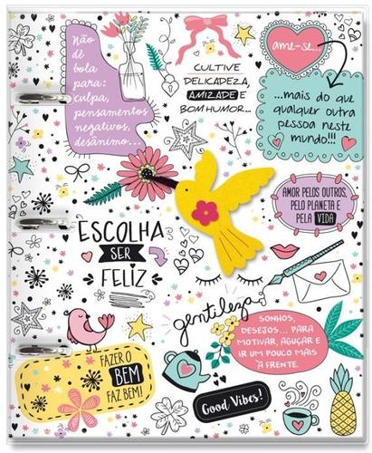 Caderno Fichário Argolado 12 Mat-capa Pvc - Beija Flor
