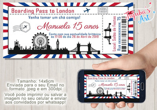 Arte Digital Convite Ingresso Passaporte Londres #mod1