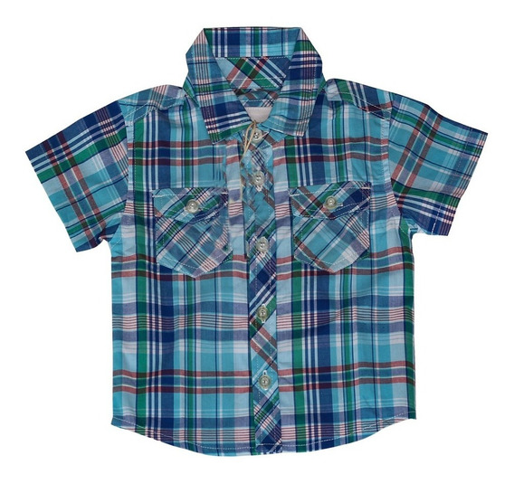 Camisa Para Bebe Xadrez Menino Azul Milon