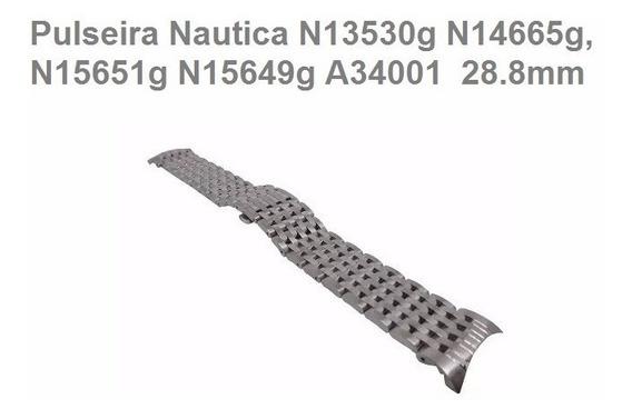 Pulseira Nautica N13530 Original Aço Metal N13530g