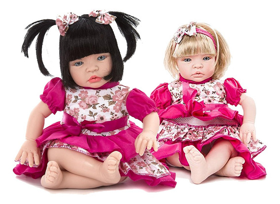 Boneca Baby Kiss Morena E Loira Tipo Reborn Chora E Balbucia