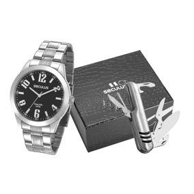 Relógio Seculus Masculino Com Canivete - 28936g0svna2