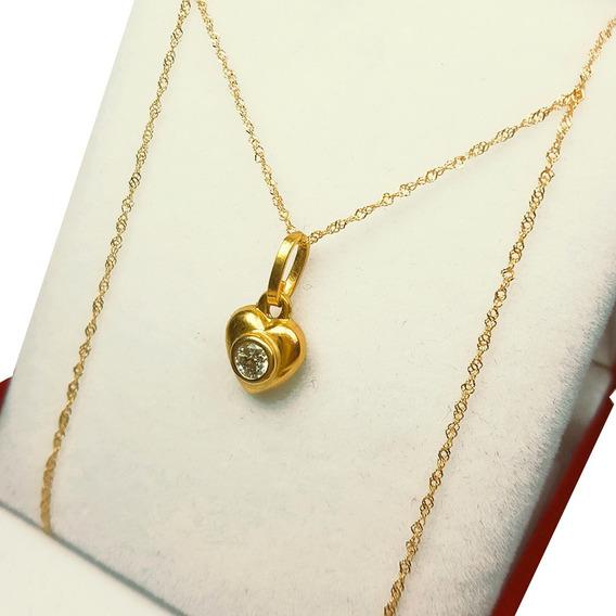 Conjunto Dije Corazon Oro C/piedra 18k Cadena Mujer 15 Años