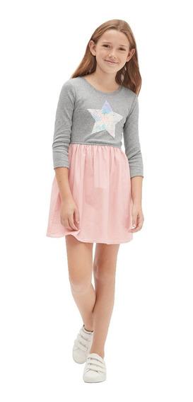 Vestido Casual Niña Manga 3/4 Estrella Gris Rosa 442008 Gap